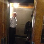 My dad inside a 1930's Queen Mary elevator