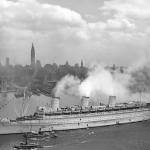 Queen Mary in New York Harbor [June 20, 1945]